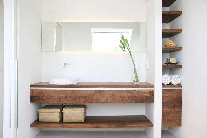 20 Glorious Bathrooms with Wooden Shelves | Home Design Lover