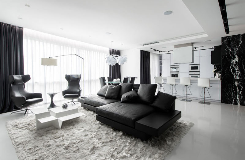 stunning black and white apartment in moscow home design