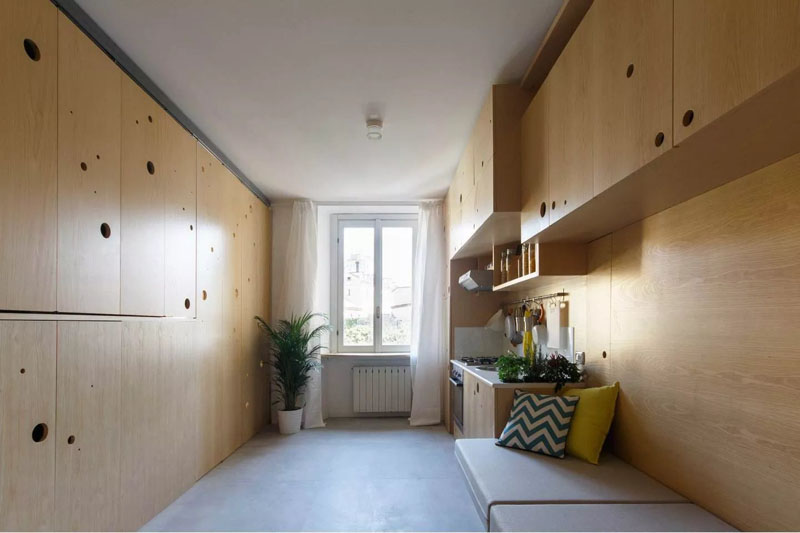 Creative ideas maximized the living spaces in this small for Design apartment 50m2