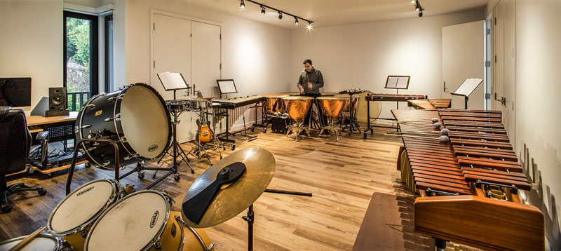 The Music Box Residence timpani rehearsal room