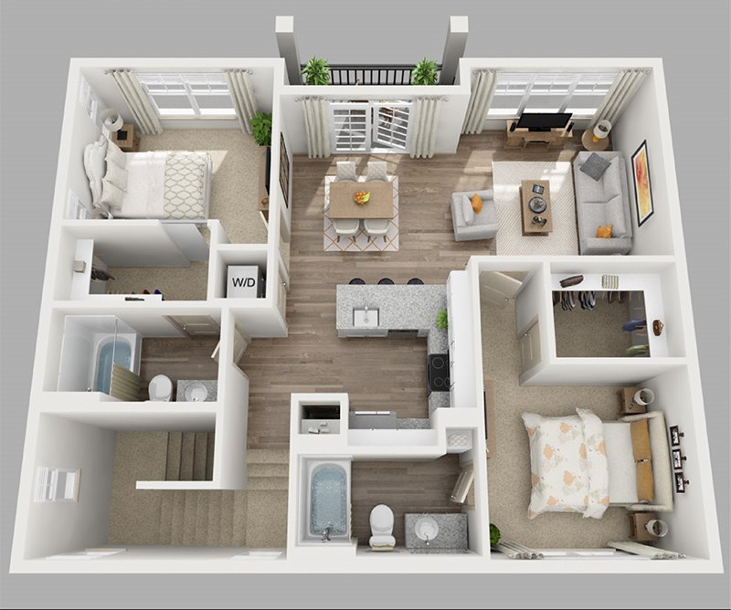 20 Designs Ideas For 3d Apartment Or One Storey Three Bedroom Floor