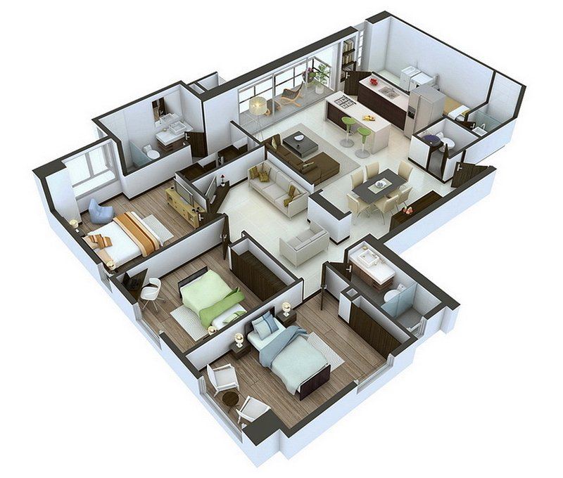 20 designs ideas for 3d apartment or one storey three for Three bedroom apartment layout