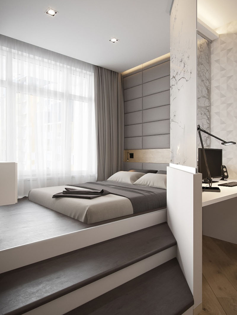 A modern small apartment with an elevated bedroom home - Small apartment bedroom ideas ...