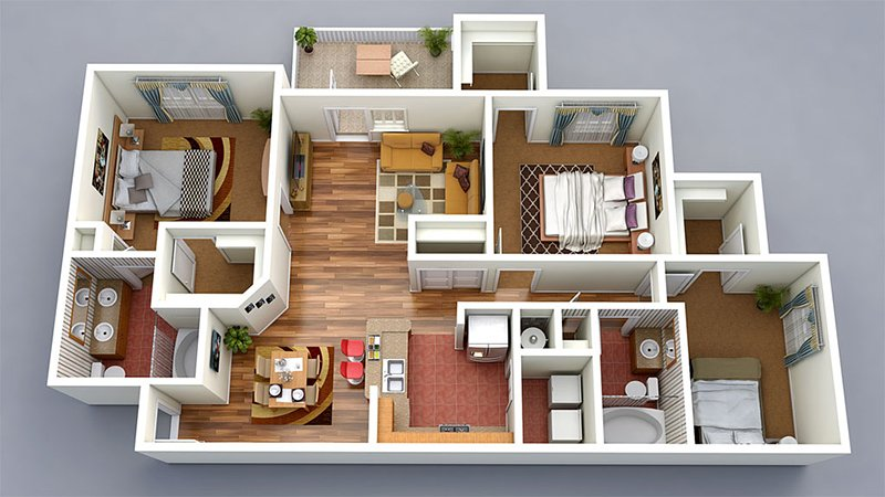 Good 3 Bedroom House Floor Plan 3D