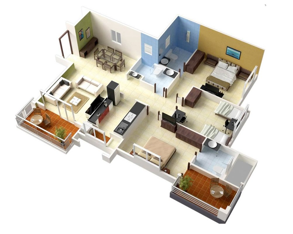 20 Designs Ideas For 3d Apartment Or One Storey Three Bedroom