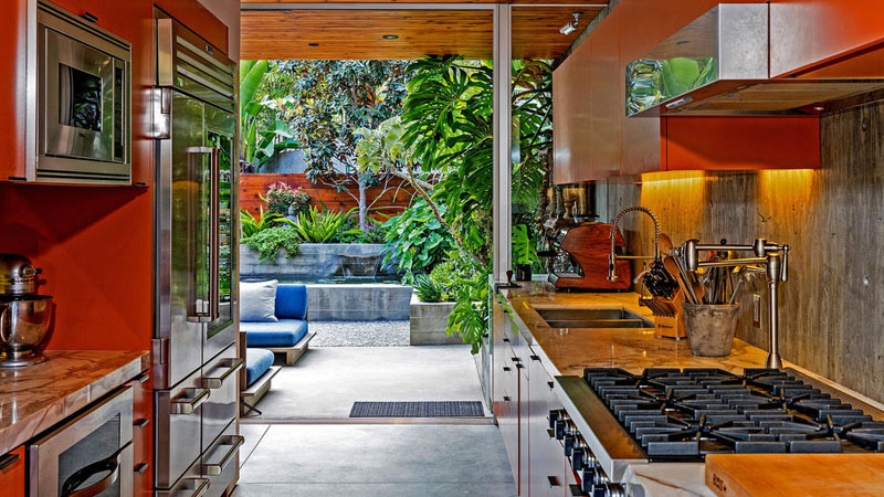 wood clad home kitchen