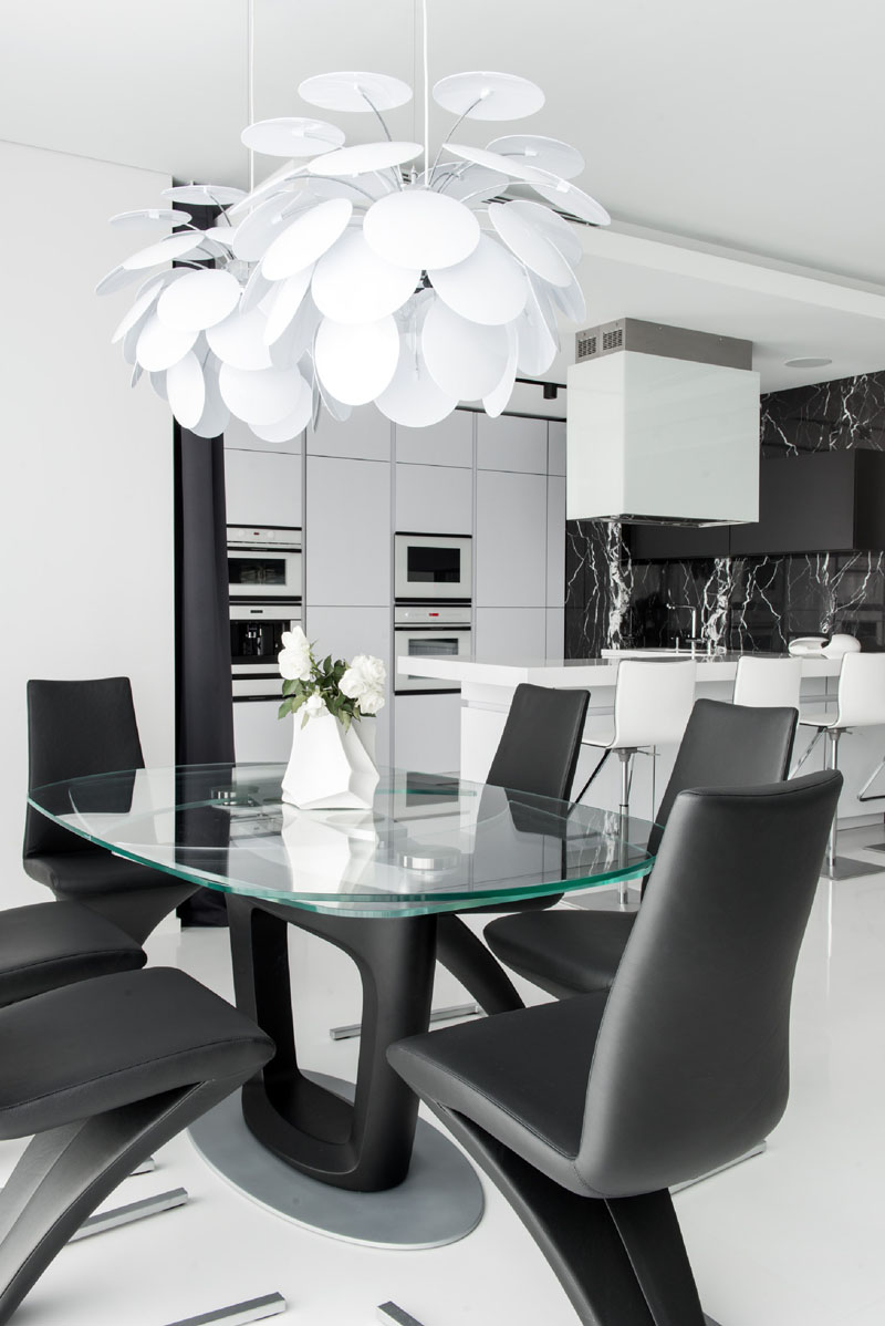 Black and White apartment dining area