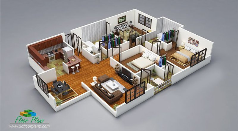 20 Designs Ideas For 3D Apartment Or One-Storey Three Bedroom