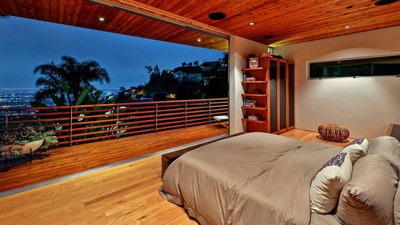wood clad home bedroom