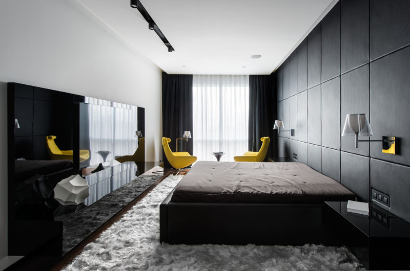 Black and White apartment bedroom