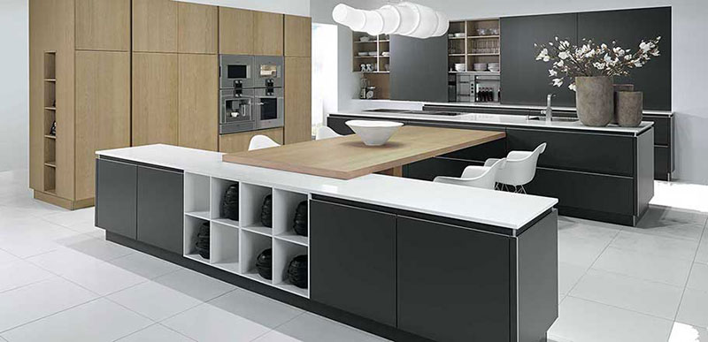 Y-Line Matt Lacquer Stratus Grey and Clayed Oak Veneer Pronorm Kitchen