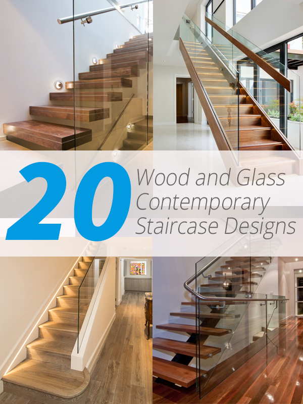 wood glass stair