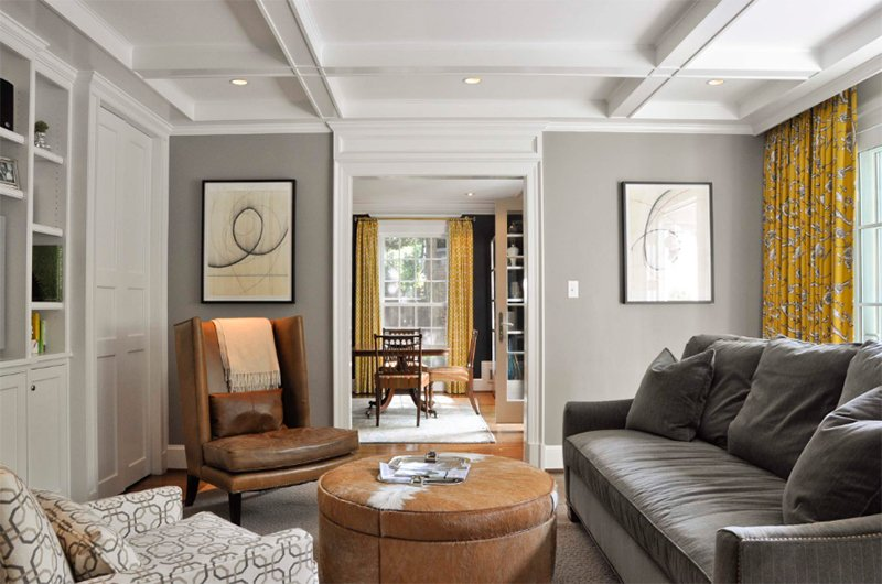 suburban dc cahill residence - Grey And Brown Living Room