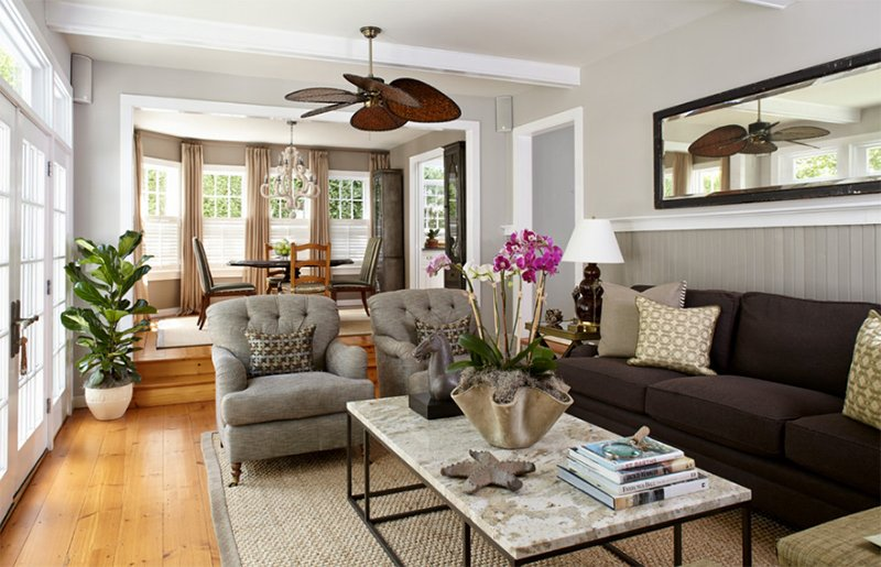 classic cottage - Grey And Brown Living Room