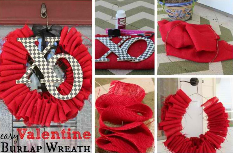 DIY Valentine Wreath – Burlap Wreath Tutorial For Under $10