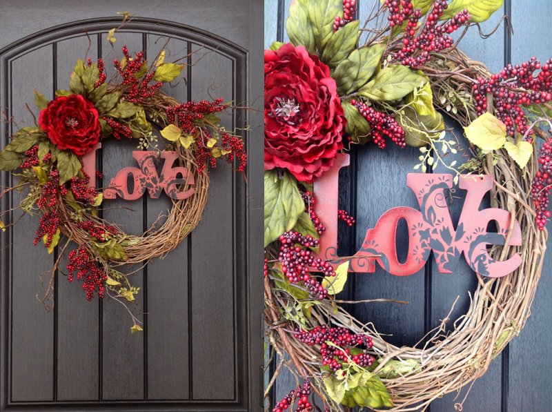 Valentines Day Wreath Door Decor..Love