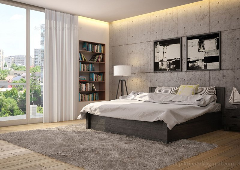appealing bedroom design | 20 Appealing Bedrooms With Concrete Walls | Home Design Lover