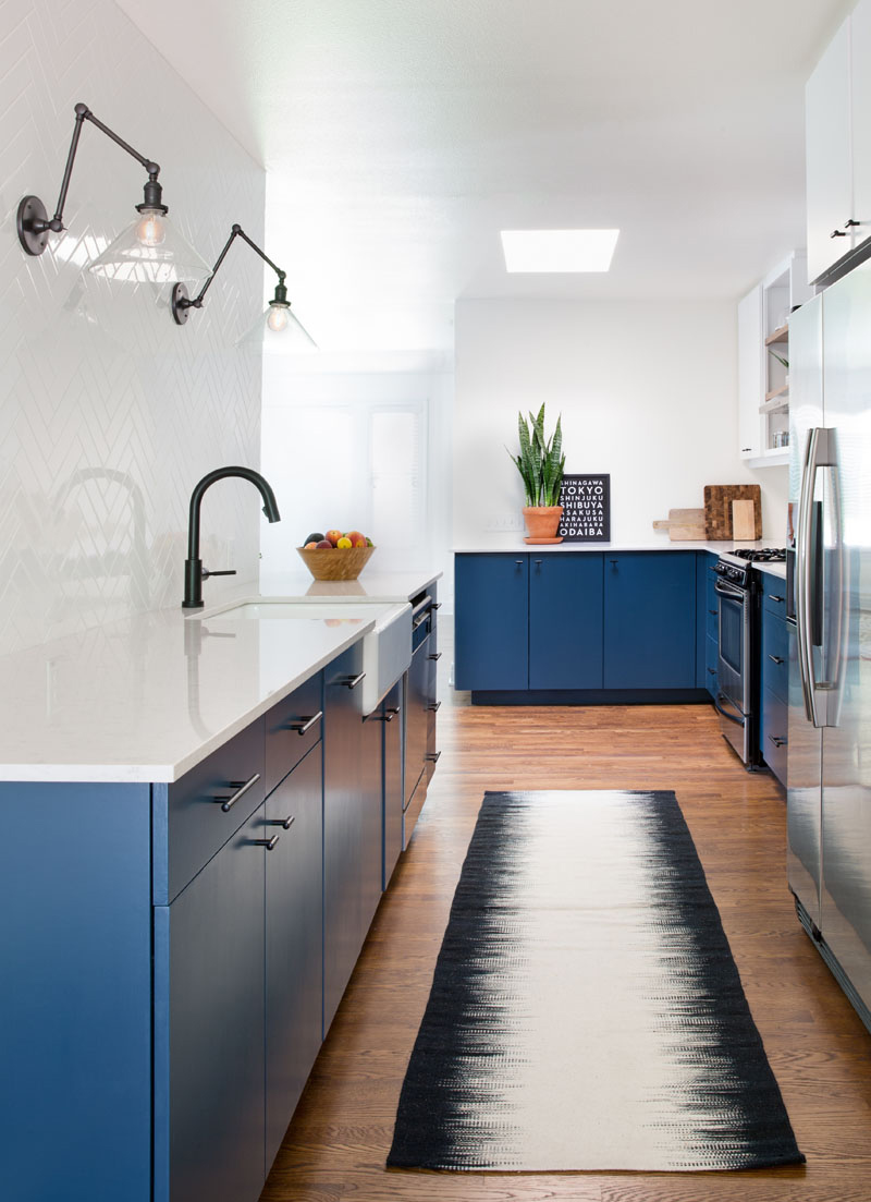blue kitchen long narrow