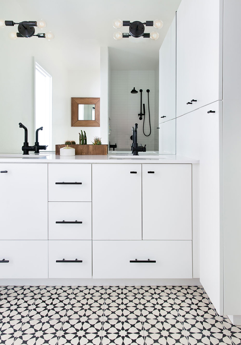 master bath white black