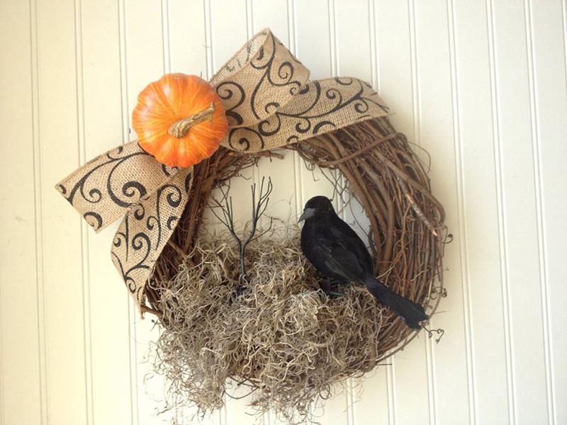 Burlap Crow Wreath