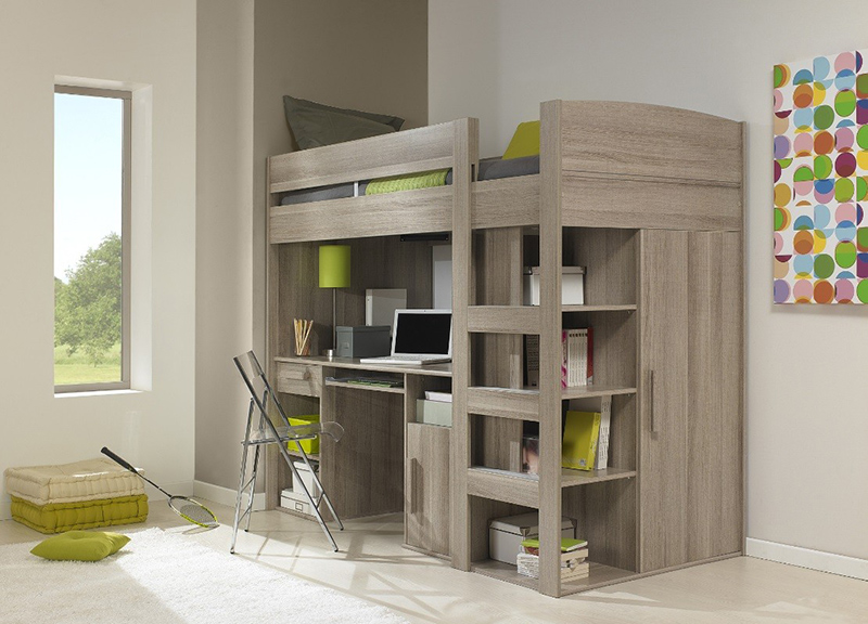Gami Montana Loft Bed with Desk, Wardrobe & Storage Under