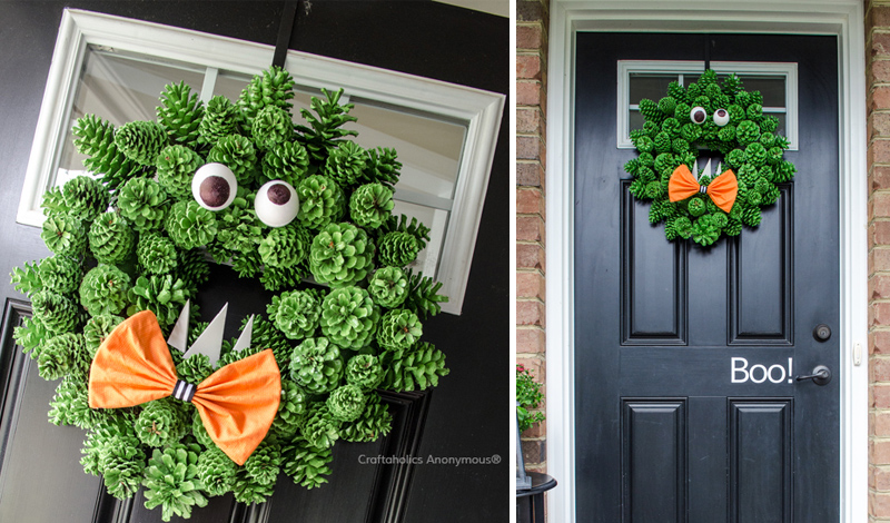 Pinecone Monster Halloween Wreath Tutorial