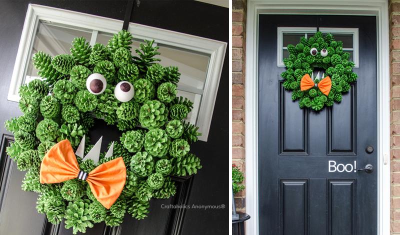 Pinecone Monster Halloween Wreath Tutorial