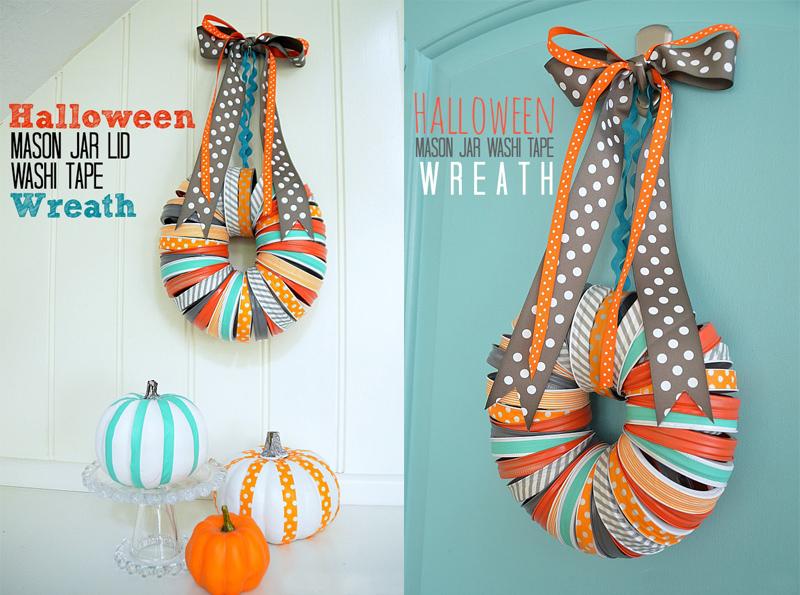 Halloween Mason Jar Lid Wreath