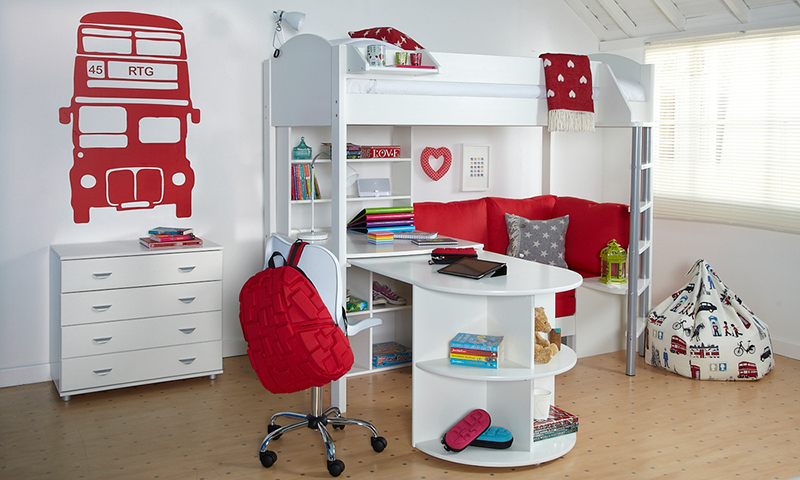 Stompa Casa 4 High Bed in White & Red