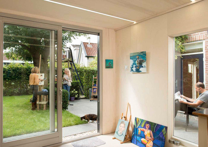 Backyard painting studio interior