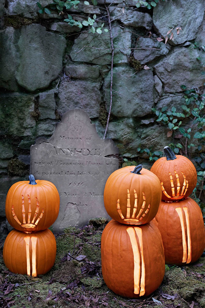 Skeleton Carved Pumpkins