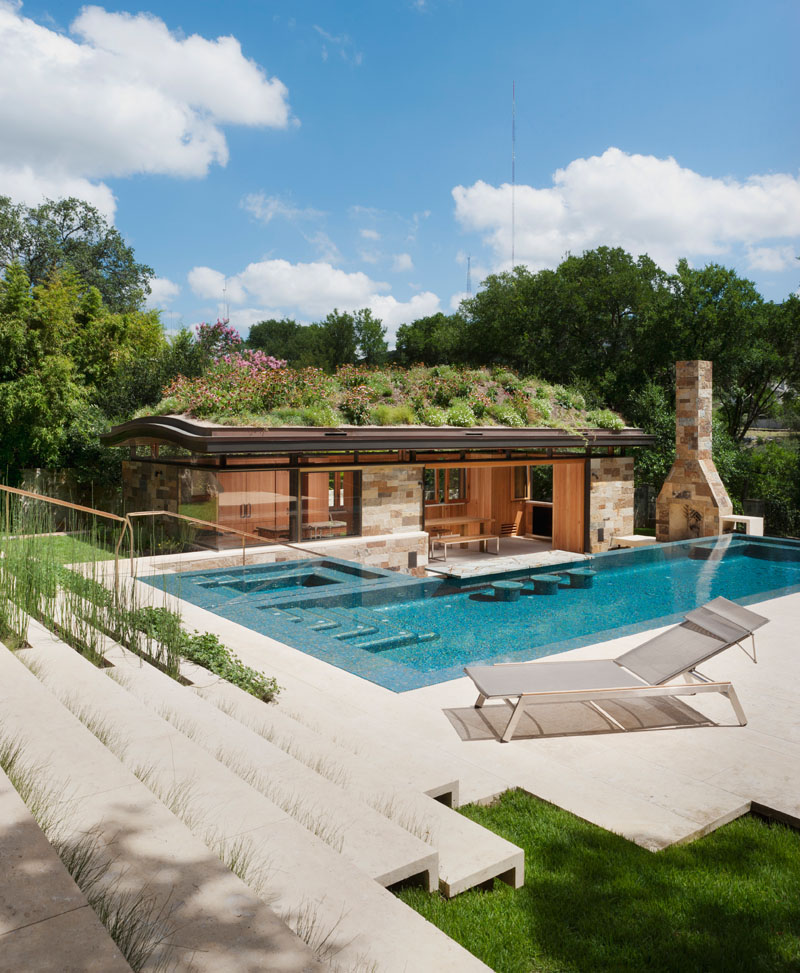 A Pool House In West Hills Has Curved Green Roof