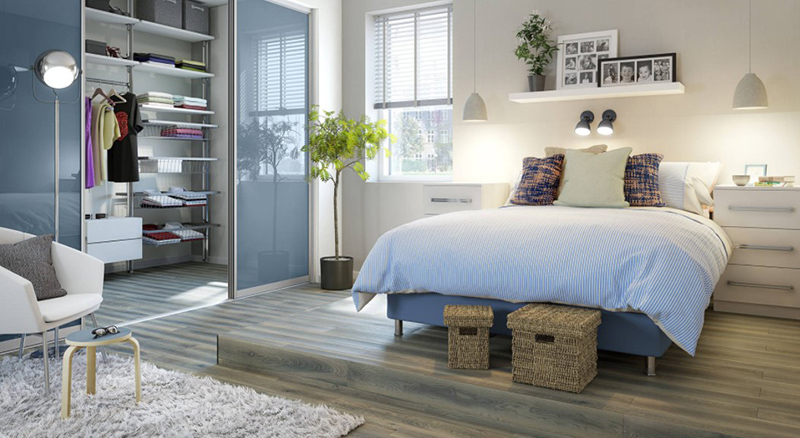 Contemporary Bedroom with Blue Gloss Sliding Doors