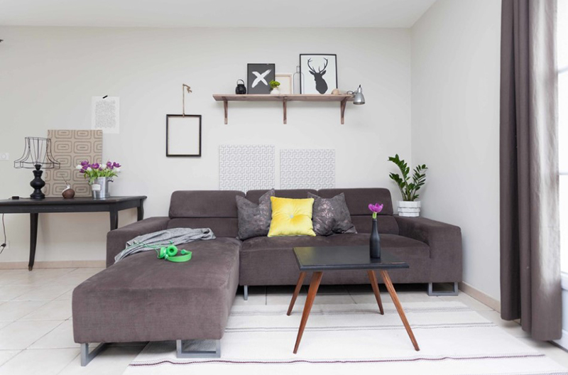 20 Lovely Decor Ideas For Adding Impact Above The Sofa: 20 Gray L-Shaped Sofa For The Living Room