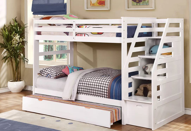 Cosmo Twin over Twin Bunk Bed with Trundle and Storage