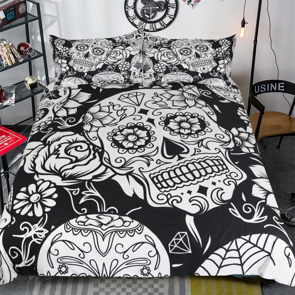 Rose Skull Lineart Duvet Cover