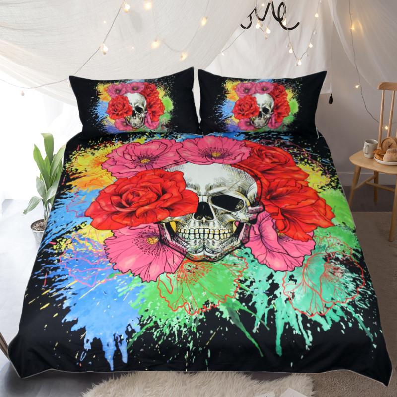 Flora Splatter Skull Duvet Cover