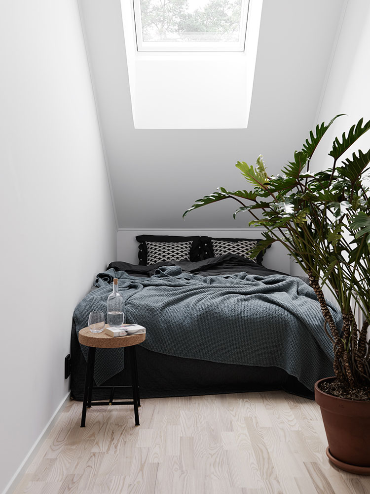 Bed on Room with Slanted Rood