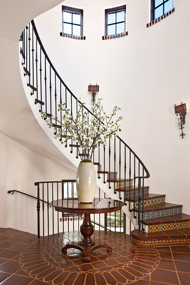 Curved metal railing